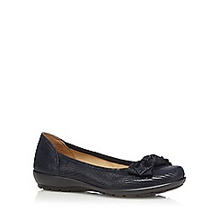 Hotter - Navy leather patent textured low heel bow pumps