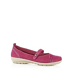 Hotter - Bright pink leather cushioned slip on shoes