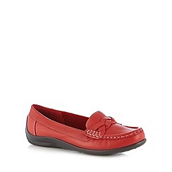 Hotter - Red leather plaited trim moccasins