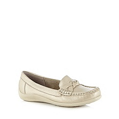 Hotter - Light gold leather plaited trim moccasins
