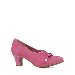 Hotter - Dark pink suede cutout mid court shoes
