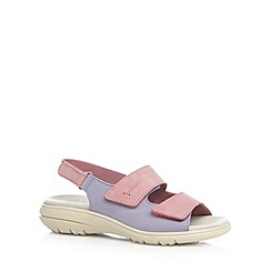 Hotter - Lilac leather rip tape sandals