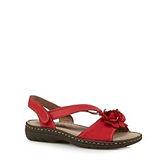 Hotter - Red elasticated floral flat sandals