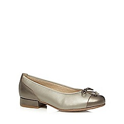 Hotter - Gold metallic low heel leather ballet shoes
