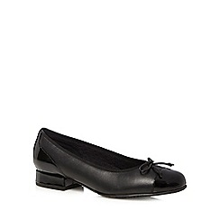 Hotter - Black low heel leather ballet shoes