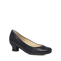 Hotter - Navy leather court mid heel shoes