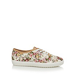 Hotter - Pink vintage floral canvas trainers