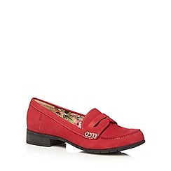 Hotter - Red suede low heel loafers