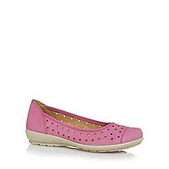 Hotter - Bright pink suede cutout spotted detail pumps
