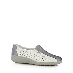 Hotter - White cutout leather slip on shoes