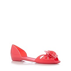 Mel - Bright pink 3D flower caged ballerina pumps