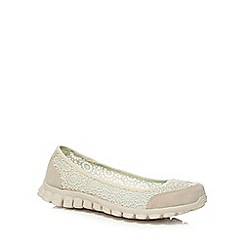 Skechers - Beige 'Flex 2 - Sweetpea' slip-on trainers
