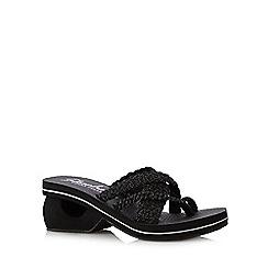 Skechers - Black 'Yoga Foam' plaited mid flip flops