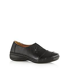 Cushion Walk - Black floral trim slip on shoes