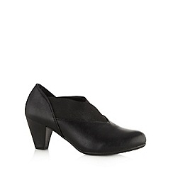 Cushion Walk - Black slip on mid heel shoes