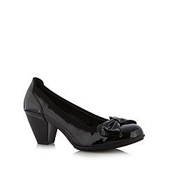 Natures Own - Black patent bow trim mid court shoes