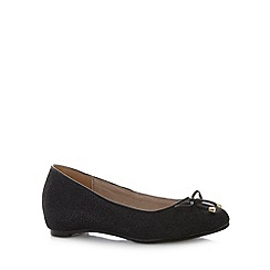 Natures Own - Black sparkle bow trim ballerinas