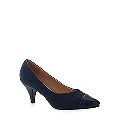 Natures Own - Navy stiletto heel pointed toe court shoes