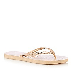 Gandys - Natural plaited flip flops