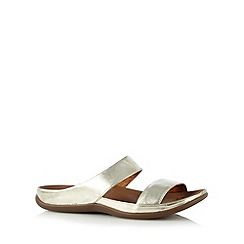 Strive - Gold leather two strap slip on sandals