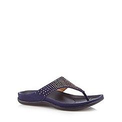 Strive - Blue leather diamante detail toe post flip flops