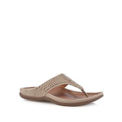 Strive - Tan leather diamante detail toe post flip flops