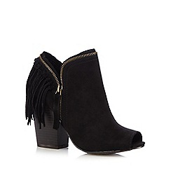 Call It Spring - Black 'Welline' suedette peep toe high heeled ankle boots