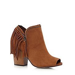 Call It Spring - Tan 'Welline' suedette peep toe high heeled ankle boots