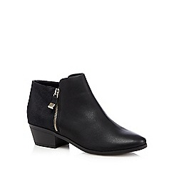 Call It Spring - Black 'Marguaritte' mock croc mid ankle boots