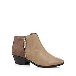 Call It Spring - Taupe 'Marguaritte' mock croc mid ankle boots