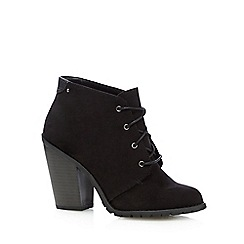 Call It Spring - Black 'Aderin' suedette high heeled ankle boots