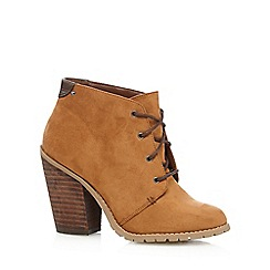 Call It Spring - Tan 'Aderin' suedette high heeled ankle boots