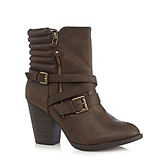 Call It Spring - Dark brown 'Antonoff' multi strap high heeled ankle boots