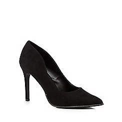 Call It Spring - Black 'Scucina' zip trimmed high heeled courts