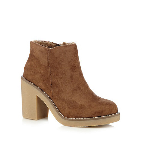Call It Spring - Tan +Noury+ suedette high heeled ankle boots