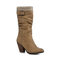 Call It Spring - Taupe 'Nueve' high heeled woven trimmed calf boots
