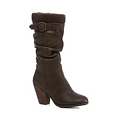 Call It Spring - Brown 'Nueve' high heeled woven trimmed calf boots