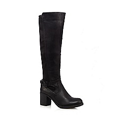 Call It Spring - Black 'Finlan' ribbed knee high mid heeled boots