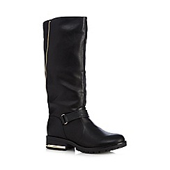 Call It Spring - Black 'Boldrey' zip detail mid heeled boots