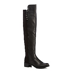 Call It Spring - Black 'Fognano' suedette mid heeled knee high boots