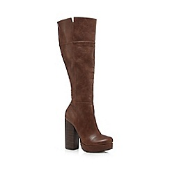 Call It Spring - Tan 'Degli' knee high platform boots
