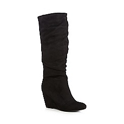 Call It Spring - Black 'Glelidia' suedette wedge heeled knee high boots