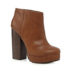 Call It Spring - Brown 'Leawen' high heeled platform ankle boots