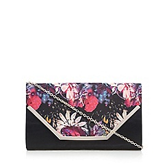 Call It Spring - Black 'Tiffany' floral clutch bag