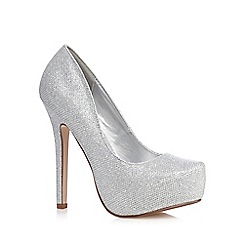 Call It Spring - Silver glitter 'Jeriralia' high heeled platform court shoes