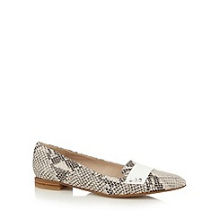 Clarks - Cream 'Gino Fudge' mock snake leather flat shoes