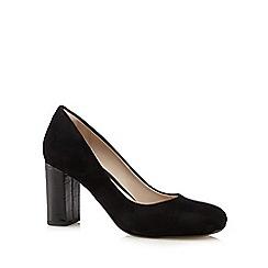 Clarks - Black 'Gabriel Mist' suede croc-effect heel courts