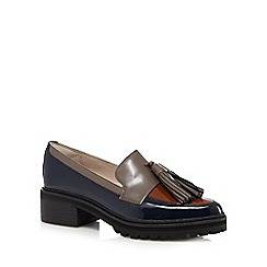 Clarks - Navy 'Anniston Vale' leather patent mid heeled loafers