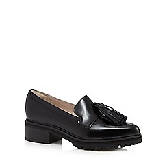 Clarks - Black 'Anniston Vale' leather mid heeled loafers