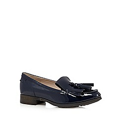 Clarks - Navy patent 'Busby Folly' leather low heeled loafers